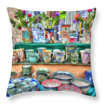 Ceramics Stall Throw Pillow