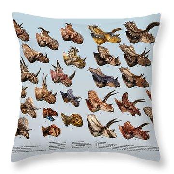 Ceratopsian Cornucopia Throw Pillow
