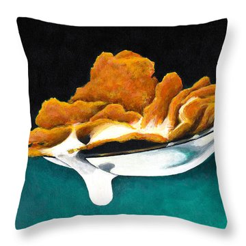 Throw Pillow featuring the painting Cereal In Spoon With Milk by Janice Dunbar