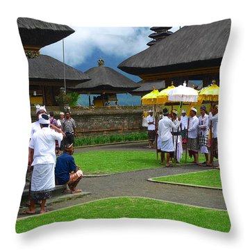 Ceremony Gathering At Beratan Bali Throw Pillow