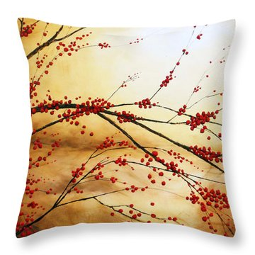 Cerezo Iv Throw Pillow by Angel Ortiz