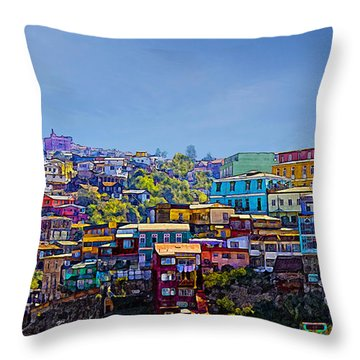 Cerro Artilleria Valparaiso Chile Throw Pillow