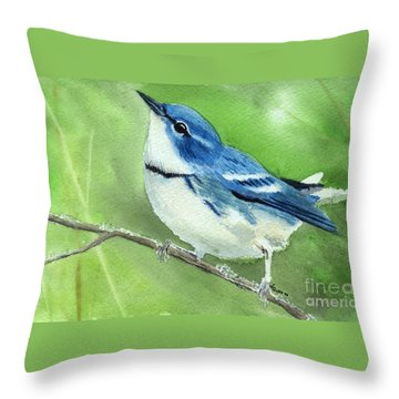 Cerulean Warbler Throw Pillow
