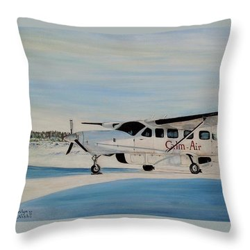 Throw Pillow featuring the painting Cessna 208 Caravan by Marilyn  McNish