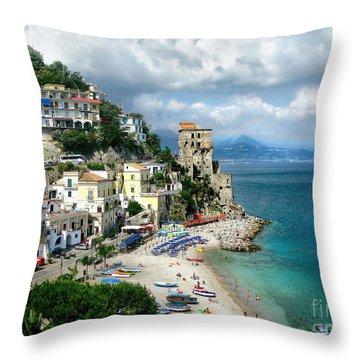 Cetara. Amalfi Coast Throw Pillow by Jennie Breeze
