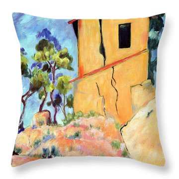 Cezanne's House With Cracked Walls Throw Pillow by Jamie Frier