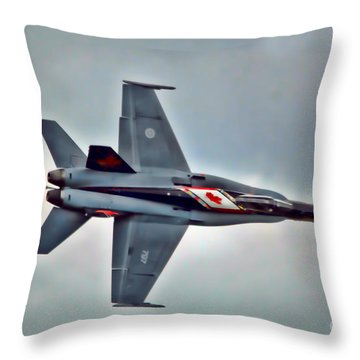 Cf18 Hornet Topview Flying Throw Pillow by Cathy  Beharriell