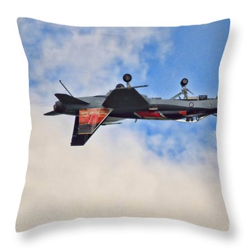 Cf18 Hornet Upside Down Fly By  Throw Pillow by Cathy  Beharriell