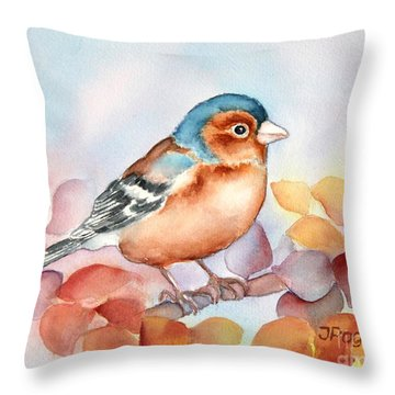 Chaffinch 2 Throw Pillow by Inese Poga