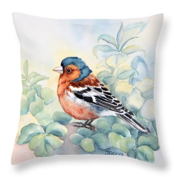 Chaffinch In Grass Throw Pillow