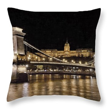 Chain Bridge And Buda Castle Winter Night Painterly Throw Pillow