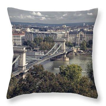 Chain Bridge Gresham Palace And Basilica Throw Pillow