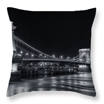 Chain Bridge Night Bw Throw Pillow