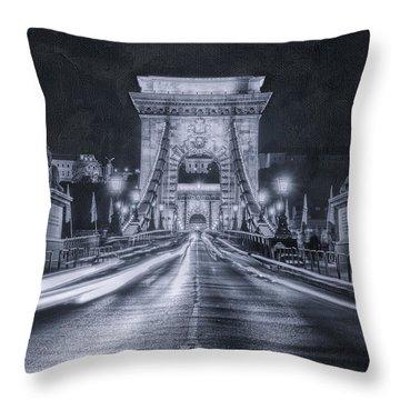 Chain Bridge Night Traffic Bwii Throw Pillow