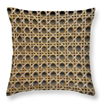 Throw Pillow featuring the photograph Chair Caning  by Sherman Perry
