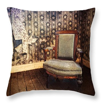 Chair In Abandoned Room Throw Pillow by Jill Battaglia