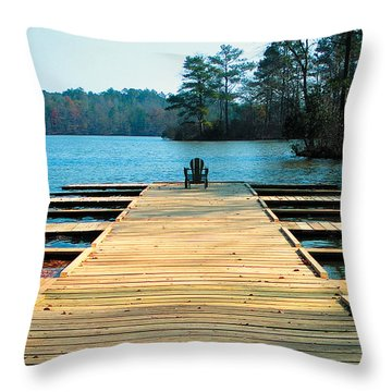 Chair On Dock By Jan Marvin Throw Pillow