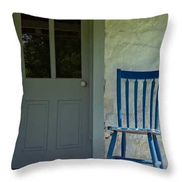 Chair On Farmhouse Porch Throw Pillow by Olivier Le Queinec