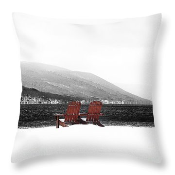 Chairs At Canandaigua Lake 2011 Throw Pillow by Joseph Duba
