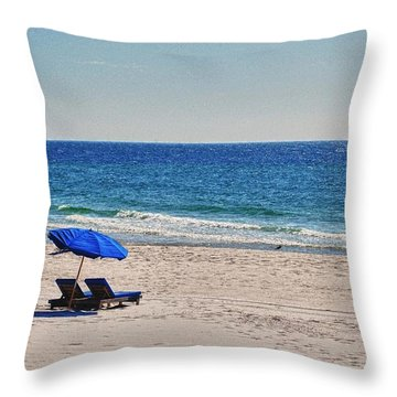 Chairs On The Beach With Umbrella Throw Pillow by Michael Thomas