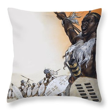 Chaka In Battle At The Head Throw Pillow by Angus McBride