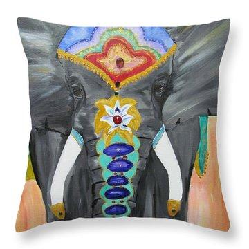 Chakra Elephant Throw Pillow