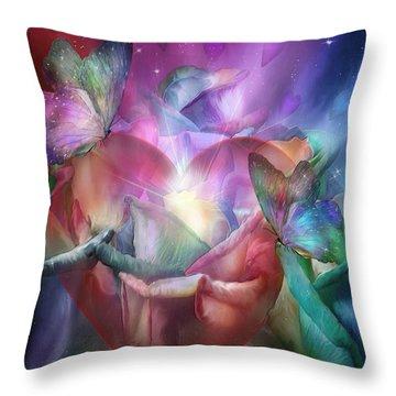 Chakra Heart Throw Pillow by Carol Cavalaris