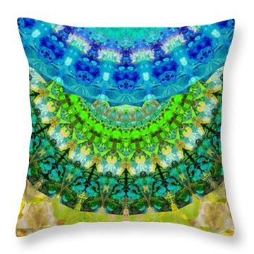 Chakra Mandala Healing Art By Sharon Cummings Throw Pillow by Sharon Cummings