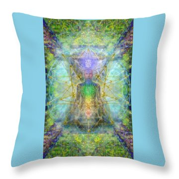 Chakra Tree Anatomy With Mercaba In Chalice Garden Throw Pillow