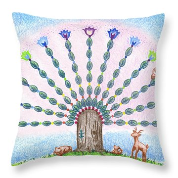 Chakra Tree Throw Pillow by Keiko Katsuta