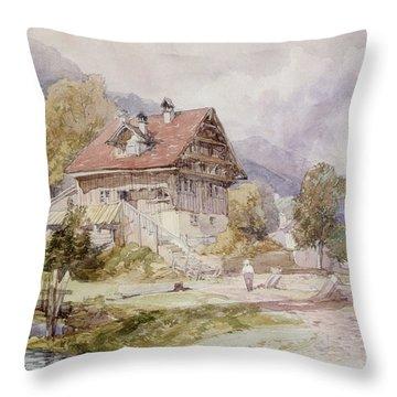 Chalet, Brunnen, Lake Lucerne Throw Pillow by James Duffield Harding