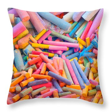 Chalk Colors Throw Pillow by Alixandra Mullins