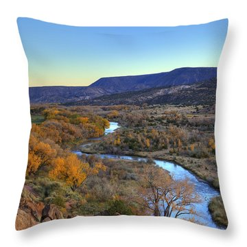 Chama River At Sunset Throw Pillow