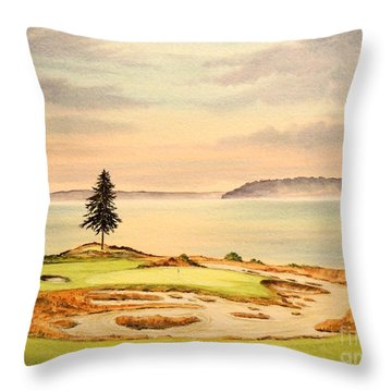 Chambers Bay Golf Course Hole 15 Throw Pillow