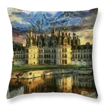 Chambord Castle Throw Pillow by Georgi Dimitrov