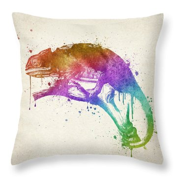 Chameleon Splash Throw Pillow by Aged Pixel