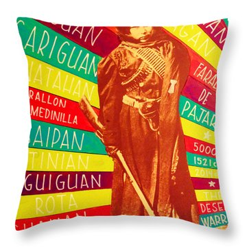 Throw Pillow featuring the painting Chamorro Revolutionary by Michelle Dallocchio
