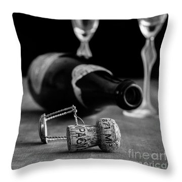 Champagne Bottle Still Life Throw Pillow