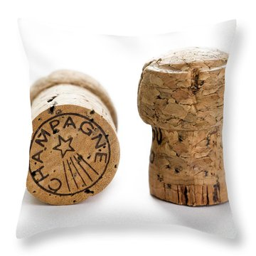 Throw Pillow featuring the photograph Champagne Corks by Lee Avison