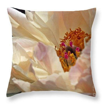 Champagne Peony Throw Pillow