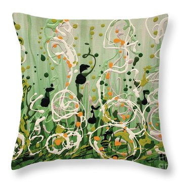 Throw Pillow featuring the painting Champagne Symphony by Holly Carmichael
