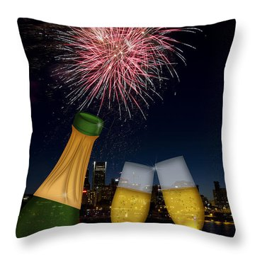 Champagne Toast With Portland Oregon Skyline Throw Pillow
