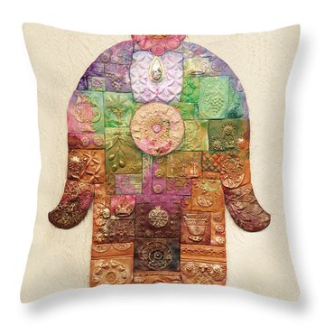 Chamsa Throw Pillow by Michoel Muchnik