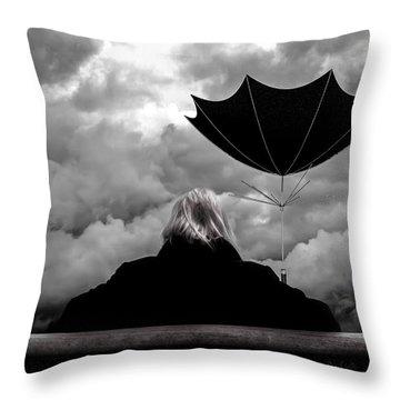 Chance Of Rain   Broken Umbrella Throw Pillow by Bob Orsillo