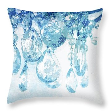 Chandelier Crystals In Blue Throw Pillow by Suzanne Powers