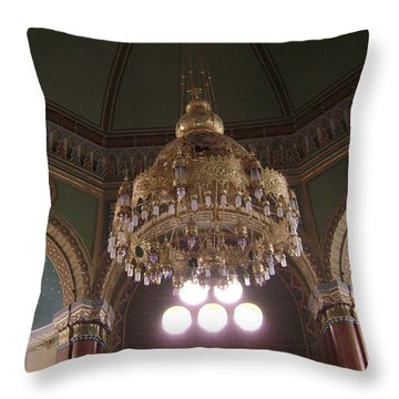 Chandelier Of Sofia Synagogue Throw Pillow