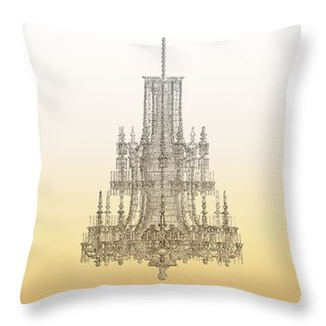 Trio Of Crystal Palace Chandeliers In Gold Throw Pillow by Suzanne Powers