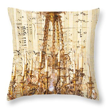 Chandelier With Franz Liszt Music Score Throw Pillow by Suzanne Powers