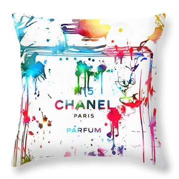 Chanel Number Five Paint Splatter Throw Pillow by Dan Sproul