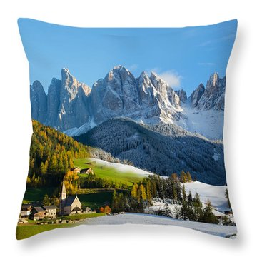Change Of Season With Fall Turning Into Winter Throw Pillow